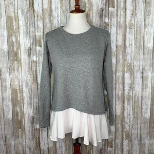 LOGO Lounge Gray Layered Sweatshirt White Ruffle S